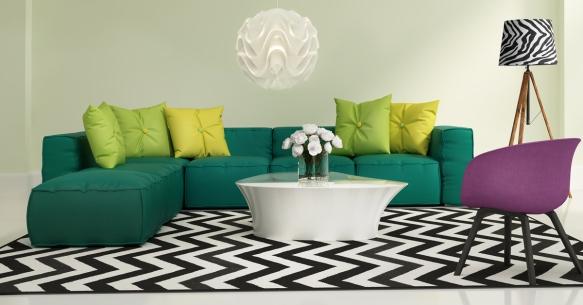 Elegant contemporary fresh interior with green sofa